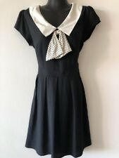 NEW WITH TAGS DESIGNER DOTTI BLACK WHITE ROCKABILLY SAILOR BOW DRESS RRP $69