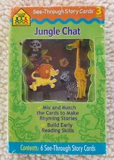"""School Zone """"Jungle Chat"""" See Through Story Cards Match Rhymes Learning NEW!"""