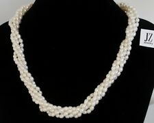 Freshwater Rice Pearl 5 String Necklace Sterling Silver Clasp & S/S Earrings