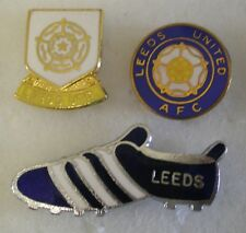 LEEDS UNITED FOOTBALL CLUB Enamel Pin Badges x 3 includes BOOT Lot No2
