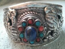 "7"" Antique Tibetan Silver Dragons Turquoise Bangle, Lady Birthday Christmas Gift"