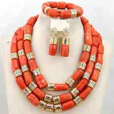 Traditional African Coral Beads with Gold Balls Wedding Bridal Jewelry Set