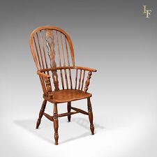 Antique Windsor Chair, Victorian Stick Back Armchair, English Oak Elm Ash c.1870