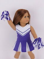 "Doll Clothes 18"" Purple Cheerleader Outfit Fits American Girl Dolls"