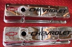 VALVE COVERS SET CHEVROLET 2 PIECE SMALL BLOCK CHEVY TALL CHROME REMOVABLE TOPS