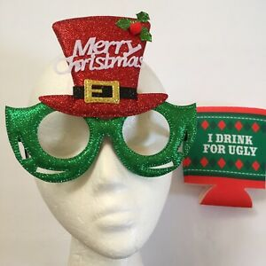 Holiday Novelty Eye Glasses Merry Christmas plus Can Cozie I Drink for Ugly Red