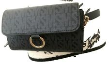 Steve Madden Black Nylon Compartment Zip Chain Strap Belt Bag