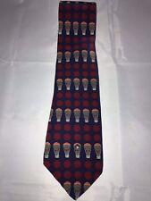 Vicky Davis New York Blue Red Hot Air Balloon Pattern 100% Silk Classic Neck Tie