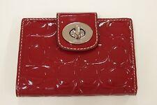 Coach Turnlock Embossed Patent Medium Wallet F43585 SV/CM Crimson