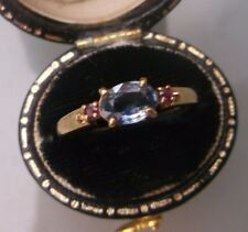 Women's 9ct Gold Ruby & Aquamarine Stone Ring Size N Weight 2.2g Stamped