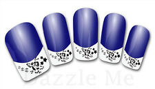 3D Nail Art Decals Transfer Stickers French Tip Design Flowers Stars (3D841)