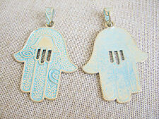 2pcs Gold & Greek Large Hamsa Hand Evil Eye Charms Pendant Jewelry Findings 72mm