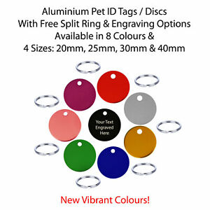 Pet ID / Dog Tags / Identity Discs & Split Ring - Engraved / Engraving Options