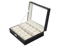 Leather 10 Grid Wrist Watch Display Box Storage Holder Organizer Case Men Cream