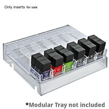 """Count of 2 Six-compartment modular tray inserts 11.75""""W x 7.875""""D x 1.125""""H"""