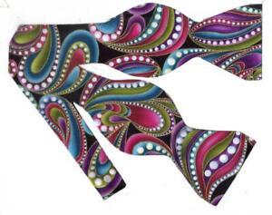 Retro Funky Paisley Bow tie / Purple, Teal, Metallic Gold / Self-tie Bow tie