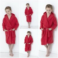 KIDS HOODED BATH ROBE BOYS & GIRLS 100% COTTON TERRY TOWELING DRESSING GOWN