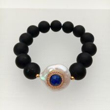 Frosted Onyx White Coin Pearl Cz Pave Lapis Stretch Bracelet