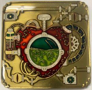 steampunk mechanical heart trackable geocoin