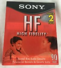 2 NEW Blank SONY HF High Fidelity Normal Bias Audio Cassette Tapes 90 Minute