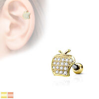 Micro CZ Paved Apple Top 316L Surgical Steel Cartilage / Tragus Barbell / Stud