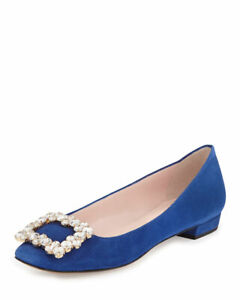 Kate Spade Norella Crystal Buckle Suede Ballet Flat, Blue