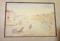 antique mini original Italian Venice watercolor nautical gondola boat painting