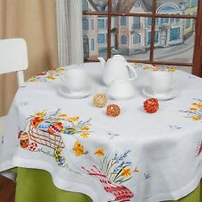"Linen Square Tablecloth Topper w/ Embroidery / 43""x43"" / Organic Linen / Easter"