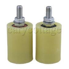 2 x M12 Yellow Silver PP Steel Guiding Wheels 6201 Bearings Insert