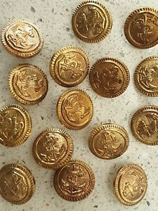 Lot of 16x New 20mm Round Gold Emboss Anchor Vintage Sewing Buttons