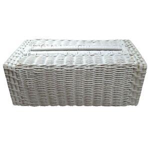 Vintage White Wicker Tissue Box Holder Rattan Boho Country