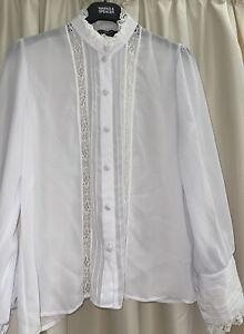 Elsie Whiteley Vintage Edwardian Style Semi Sheer Blouse  Sz14