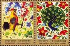 INDIA 2002 FRANCE JOINT ISSUE Peacock Hen Poultry SETENANT PAIR STAMPS MNH