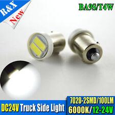 4x 24V BA9S T4W Bayonet 7020 SMD 2-LED Car Dash Interior Light Bulb White 100LM