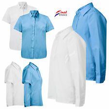 Adult Girls Kids Deluxe Long & Short Sleeve School Uniform White & Blue Shirts •