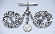 VINTAGE DOUBLE ALBERT POCKET WATCH CHAIN +VICTORIAN 1875 SILVER COIN FOB