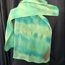 Tie Dye Scarf Green Blue Hand Painted Bronze Butterfly Large 50 x 10