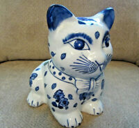 """Blue and white cat planter floral pattern porcelain large and heavy 9.5"""" tall"""
