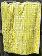 Vintage Yellow & White Checkers Baby Girl Crib Blanket Quilt w/ Lace