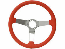 1967-1982 Corvette Red Leather 3 Spoke Chrome Steering Wheel