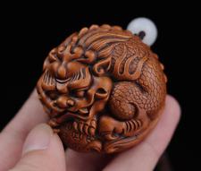 GY039 - 4.5X4.3X3  CM Hand Carved Boxwood Netsuke - Baby Dragon Pi Xiu