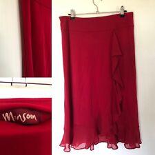 Monsoon Red Silk Blend  Skirt 10/12 elasticated waistband