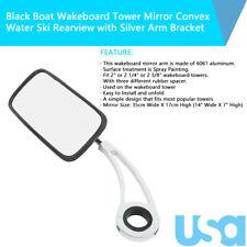 Boat Wakeboard Tower Mirror Convex Water Ski Rearview Black w/Silver Arm Bracket