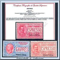 Colonie Italiane 1907-21 Eritrea Espressi n. 1/3 Certificato Nuovi Integri **