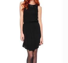 Splendid Black Faux Leather Yoke Dress Large L Hardly Worn