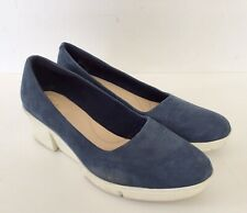 Clarks Cushion Insole Blue Suede Wedge Slip On Shoes - Size UK 6 D - EU 39.5