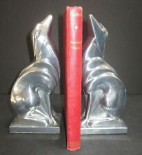"Frankart greyhound dog art deco unfinished aluminum bookends  8/"" tall a pair USA"