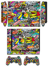 Skin Sticker for PS3 PlayStation 3 Super Slim & 2 controller skins Bombing N262Q