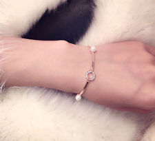 18K Gold Plated Pearl & Circle Bangle Bracelet made with SWAROVSKI ELEMENTS