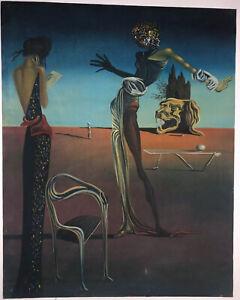 Surrealismus Gemälde nach Dali.Frau mit Rosenhaupt Acryl Kopie Leinwand
